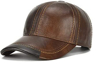 JNKET Men's Adjustable Genuine Leather Baseball Cap Dad Hat for Fall Winter
