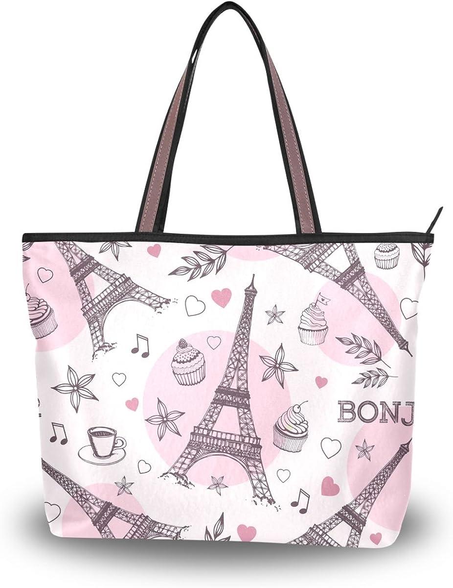 JSTEL Women Large Tote Top Handle Shoulder Bags Eiffel Tower Patern Ladies Handbag L