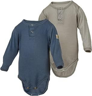2-Pack 100% Merino Wool Baby Bodysuit Long Sleeve. Machine Washable. Made in Norway.