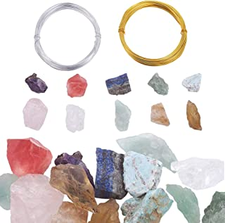 PH PandaHall 10 Style Natural Rock Quartz Rough Raw Hole Drilled Loose Beads Edge Irregular Chakras Gemstone Beads with 2 ...
