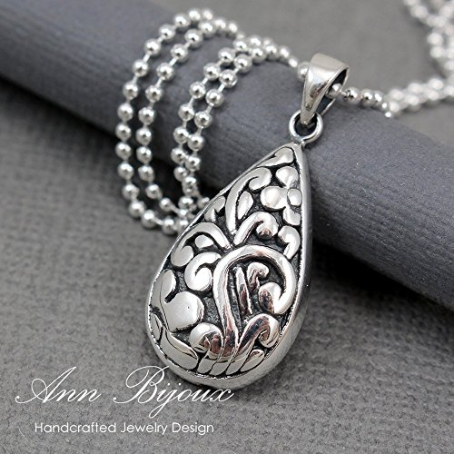 AnnbijouxNewYork Keepsake Gift For Mother Woman Hollow Teardrop Pendant Filigree Necklace Sterling Silver Filigree Jewelry Gift for Mom