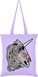 Sugar Skull Unicorn Tote Bag Lilac 38x42cm