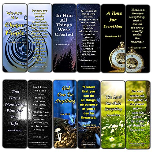 God is in Control Religious Bookmarks Cards (60-Pack) - Great Ministry Giftaway - Coronavirus Protection Bible Scriptures - Encouragement Gifts for Friends Cell Group Members Church Supplies