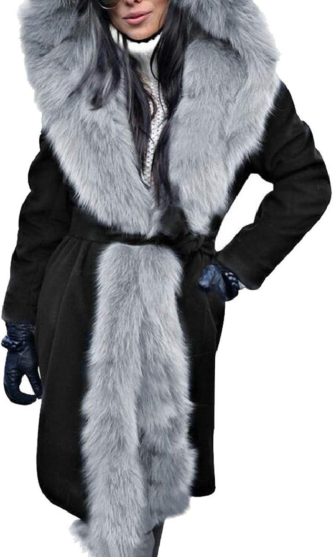LKCENCA Women Maxi Overcoat Long Length Hoodie FauxFur Collar Down Jacket Coat