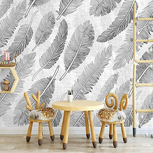 Msrahves fotomurales xxl Negro blanco abstracto plumas líneas grande Mural TV Fondo Papel de pared Sala de estar Sofá Dormitorio Papel tapiz Papel pintado creativo moderno tejido no tejido