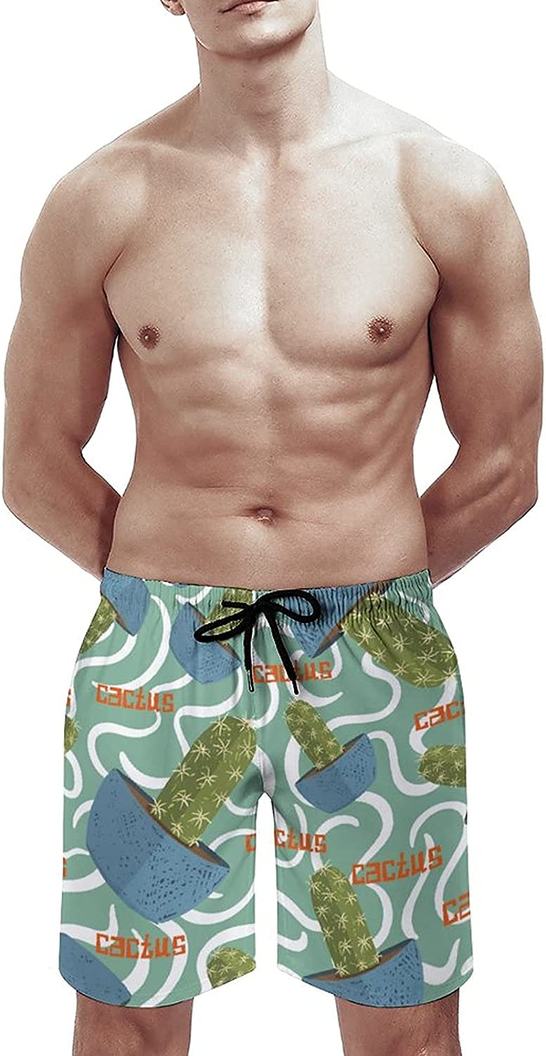 by Unbranded Men's Quick Dry Soft Relaxed Fit Drawsting Board Shorts Cactus Succulents