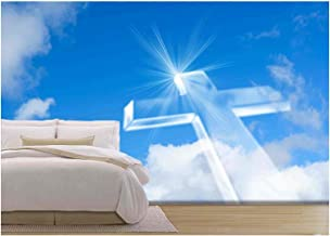 wall26 - Christian Cross Over a Beautiful Sky Background, for Holiday, Christmas, Easter and Religion Designs - Removable Wall Mural | Self-Adhesive Large Wallpaper - 100x144 inches