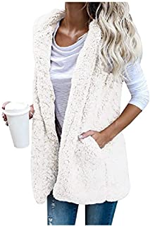 MogogN Women's Hooded Patch Solid Fashion Pockets Sherpa Packable Down Vest