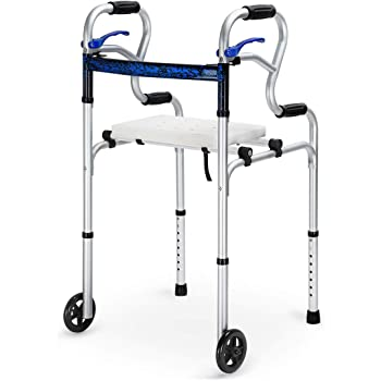 Health Line Massage Products 4 in 1 Stand-Assist Folding Walker with Detachable Seat, Trigger Release and 5 inch Wheels Supports up to 350 lbs, Compact Lightweight & Portable with Glides, Silver