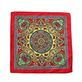 GROOMY Scarf, Ethnic Style Women Men Punk Hip Hop Bandana Bright Colorful Paisley Floral Print Square Scarf Cycling Dancing Headwrap Steetwear-3