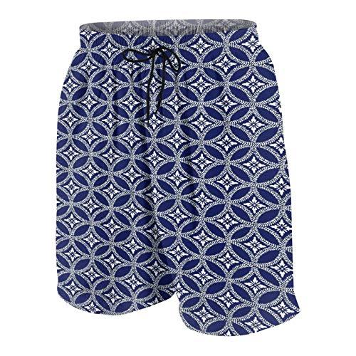 KOiomho Hombres Personalizado Trajes de Baño,Diseño Floral Inspirado en la Cultura Oriental Patrón de círculos entrelazados,Casual Ropa de Playa Pantalones Cortos