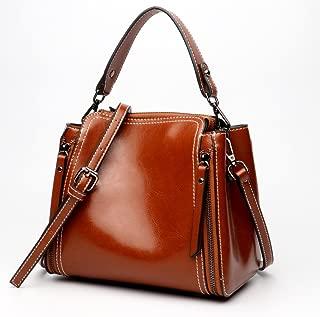 Ladies Tote Bucket Bag Ledertasche Large Capacity Leder Kontrast Schulter Crossbody Tasche (Color : Brown, Size : M)
