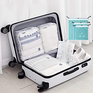 7 Set Travel Cubes Packing Cubes for Travel Luggage and Bag Organizer Suitcase Organiser Bags for Holiday Baggage,Backpacking, Air Travel,Laundry & Home Storage QDDSP (Color : E)