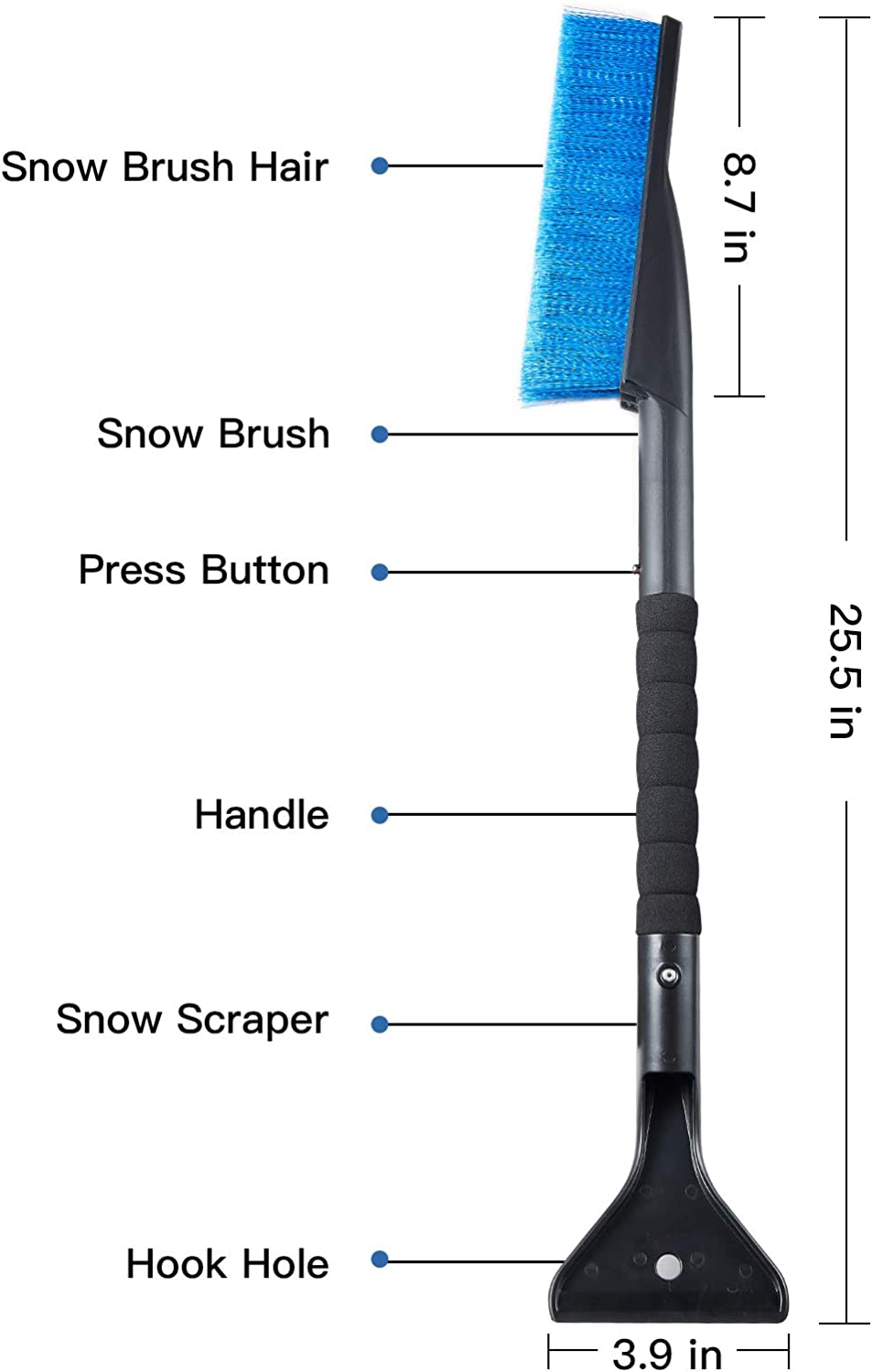 ASZKJ Car Snow Brush Removal Extendable with Ice Scraper and Foam Grip Detachable Snow Mover for Car Auto SUV Truck Windshield Windows