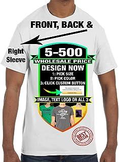 5-500 Wholesale Custom Personalized T-Shirts Unisex Men Women Youth - $8ea/as Low - Color Text, Logo, Image Design Bulk