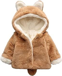 WuyiMC Warm Coats, Baby Girls Winter Fleece Coat Rabbit Faux Fur Hoodies Jacket Bunny Ear Hat