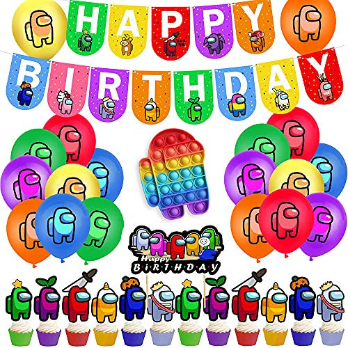 for among us birthday decorations party supplies cake toppers banner balloons with rainbow pop for among us party decorations (BALLOONPOP)
