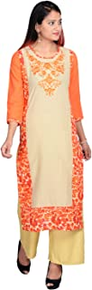 Prateek Exports Women's Cotton Embroidered Kurti With Palazzo for Daily Wear