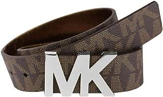 """New Michael Kors MK Logo Belt Brown Gold Medium Waist 31 to 35"""""""