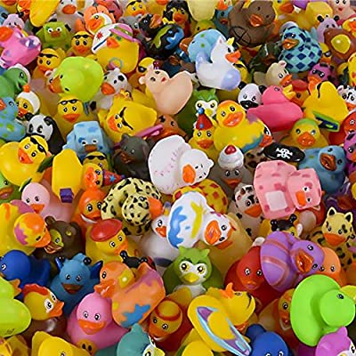 """The Dreidel Company Assortment Rubber Duck Toy Duckies for Kids, Bath Birthday Gifts Baby Showers Classroom Incentives, Summer Beach and Pool Activity, 2"""" (10-Pack) from The Dreidel Company"""