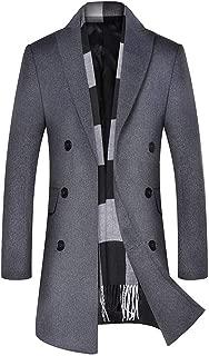 Beautyfine 2019 Men's Trench Coat Business Long Slim Overcoat Jacket Outwear