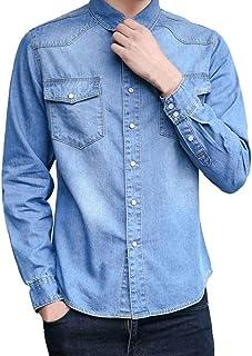 MMUJERY Camisa vaquera de manga larga para hombre Camisa Vaquera de Vestir Manga Larga Casual Hombre de Moda Camisa Vaquer...