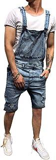 QitunC Men's Sleeveless Sling Casual Slim Fit Overalls Bib Denim Jeans Dungarees Shorts Jumpsuit
