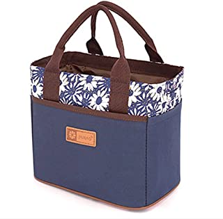 Muitifunction Cute Canvas Bento Lunch Bag for Picnic Travel Tote Lunch Bag with Rope Belt