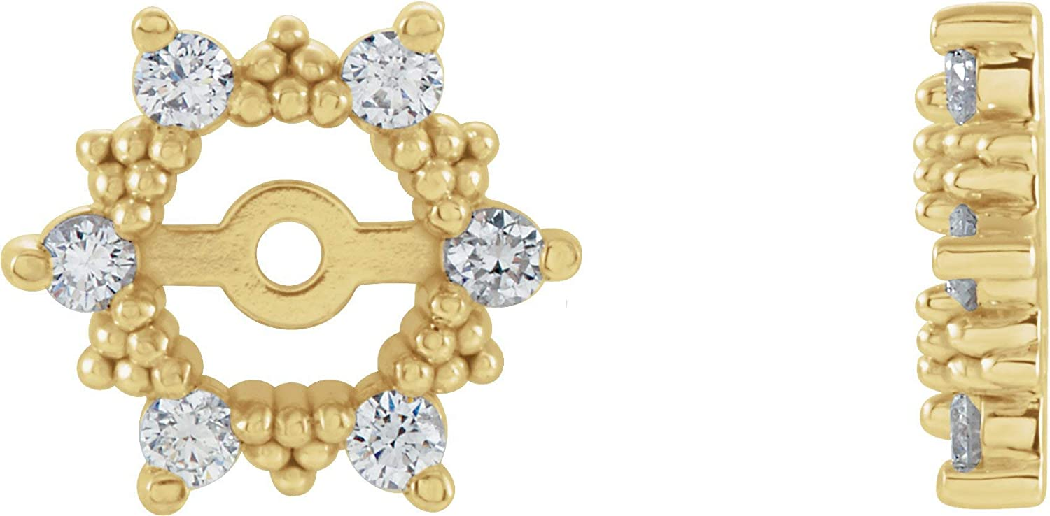 PicturesOnGold Solid 14K Yellow Gold 1/4 CTW Diamond Earring Jackets with 4.5mm ID