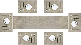 pigchcy Elegant Placemats Matching with Table Runner Washable Placemats Vinyl Table mats Sets(6pcs Placemats+1pcs Table Runner Khaki)