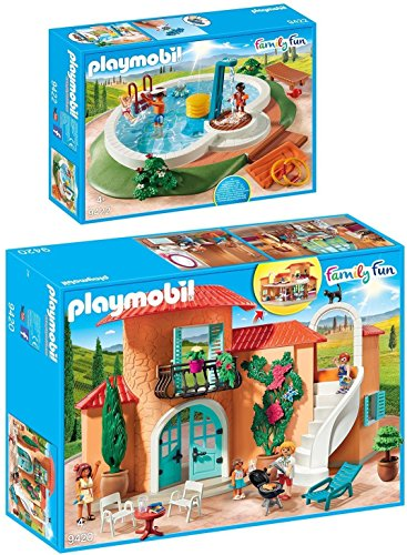 PLAYMOBIL® Family Fun 2er Set 9420 9422 Sonnige Ferienvilla + Swimmingpool