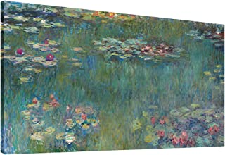 Canvas Wall Art Water Lilies by Claude Monet Painting Print- Long Green Garden Canvas Artwork Classic Reproductions Contemporary Nature Picture Framed for Home Office Wall Decor 20