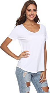 JoyFairy Women's Casual Short Sleeve V Neck T-Shirt Tee Tops with Pocket