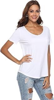 JoyFairy Women's Casual Short Sleeve V Neck T-Shirt Tee Tops with Pocket