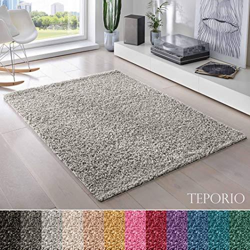 Teporio Shaggy-Teppich   Flauschiger Hochflor fürs Wohnzimmer, Schlafzimmer oder Kinderzimmer   einfarbig, schadstoffgeprüft, allergikergeeignet (Grau - 250 x 250 cm)