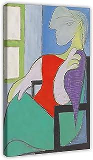 Kvinnan sitter vid fönstret abstrakt oljemålning konst vintage konst canvas affisch sovrum dekor sport landskap kontor rum...