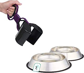 Pets Empire Stainless Steel Dog Bowl Medium (Buy 1, Get 1 Free), 700 ml + Portable Handle Cleaning Pickup Clip Poop Scoop ...