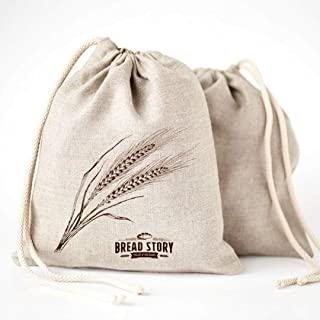Linen Bread Bags - 2-Pack 11 x 15 inch Ideal for Homemade Bread, Unbleached, Reusable Food Storage, Housewarming, Wedding Gift, Storage for Artisan Bread - Bakery & Baguette