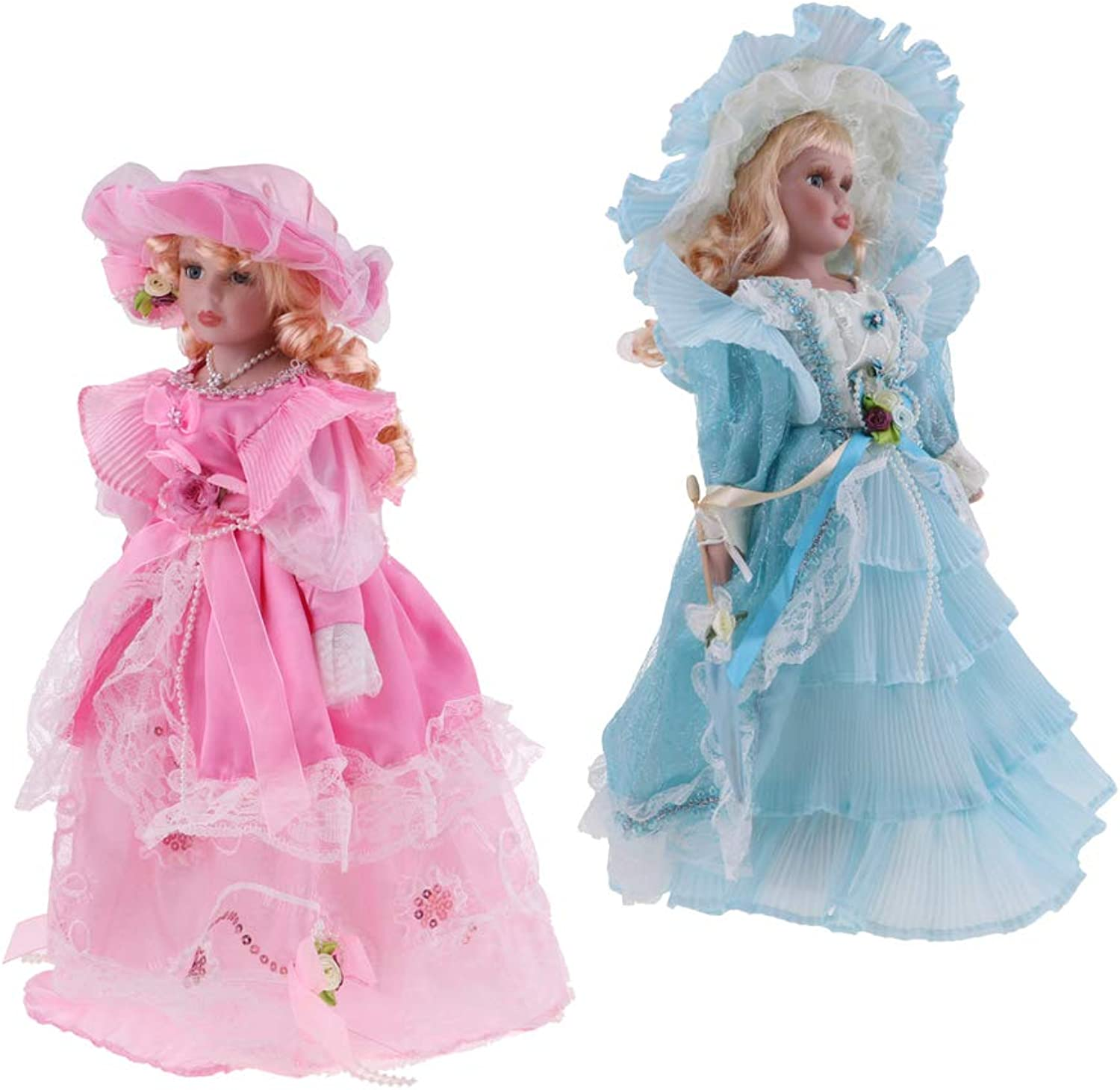 Baosity 40cm Ceramic Lady Doll Vintage Figure in Light bluee & Pink Dress Collectible