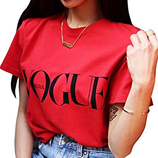Women Letter Print Casual Summer T Shirt Short Sleeve Round Neck Relaxed Fit Blouse Top