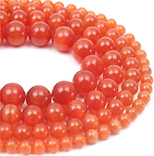 Oameusa Natural Round Smooth 8mm Orange Red Cat's Eye Agate Beads Gemstone Loose Beads Agate Beads for Jewelry Making 15