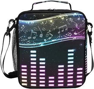 Sac à déjeuner isotherme avec motif notes de musique et volume - Sac à main carré portable - Grande capacité - Pour voyage...