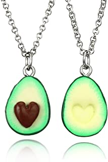 MINGHUA Cute Avocado Shape Pendant Necklace for Women Girl Fruit Shape Chains Charms Necklace Party Gifts