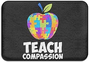 Soft Non-slip Funny Autism Awareness Teach Compassion Bath Mat Coral Fleece Area Rug Door Mat Entrance Rug Floor Mats