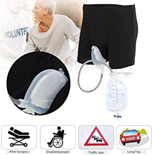Male Urinal Bag,Fencia Urine Underpants Reusable Collection Urinal Bag - Wearable Portable Incontinence Urine Bottles with Spill Proof for Elderly, After Surgery, Disabled Men-L