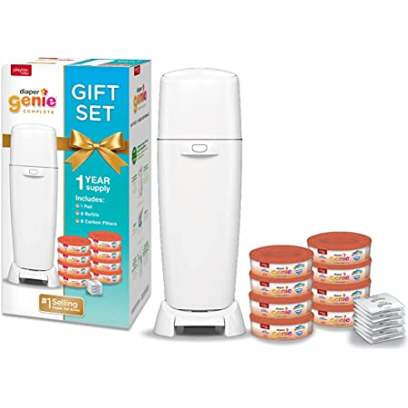 Playtex Diaper Genie Baby Registry Set, Includes 1 Diaper Genie Complete Diaper Pail, 8 Diaper Genie Clean Laundry Scent Refills and 8 Diaper Genie Carbon Filters For Odor Control