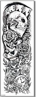 EROSPA® Tattoo-Bogen temporär - Poker Totenkopf Spiel Game