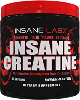 Insane Labz Insane Creatine Monohydrate Powder - Unflavored, Pre Workout, Post Workout, Strength Size Power,11.1 oz 60 Srvgs