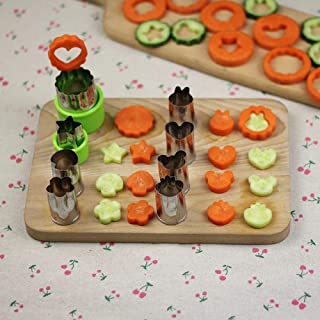 BXKEJI Rice Vegetable Fruit Cutter Mold 8Pcs/set Flowers Cartoon Cutter Mold Stainless Steel Cake Cookie Biscuit Cutting S...