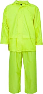 RIDDLED WITH STYLE Long Sleeves High Visibility Rainsuit Mens Hi Viz Water Proof Complete Outfit